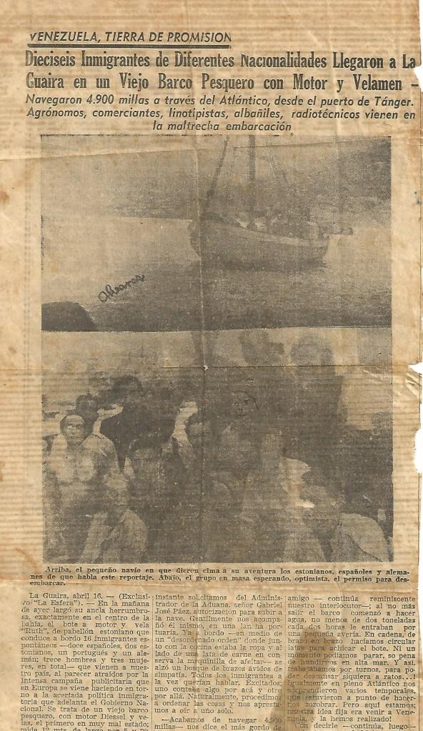 Article de presse sur le voyage de Rita.