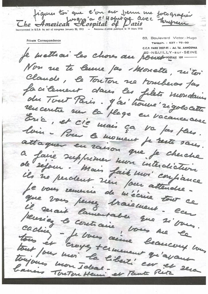 Lettre de septembre 1969 à sa nièce Simone. Ecrite au cours de son hospitalisation à l'hôpital américain de Neuilly, à propos de son nouveau statut de vedette.