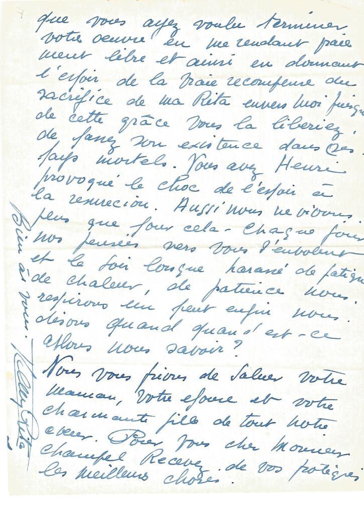 Lettre du 26/04/52 à M. Henri Champel. Ecrite de Maracaibo, à propos de sa demande de grâce.