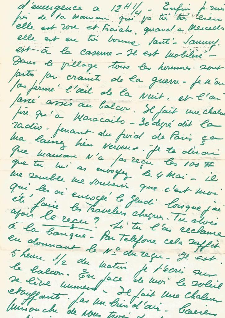 Lettre du 21/05/67 à Rita. Ecrite de chez la mère de Rita en Israel, à propos de son voyage. ( Papier à en-tête de son ancienne entreprise de pêche aux crevettes à Maracaibo. )