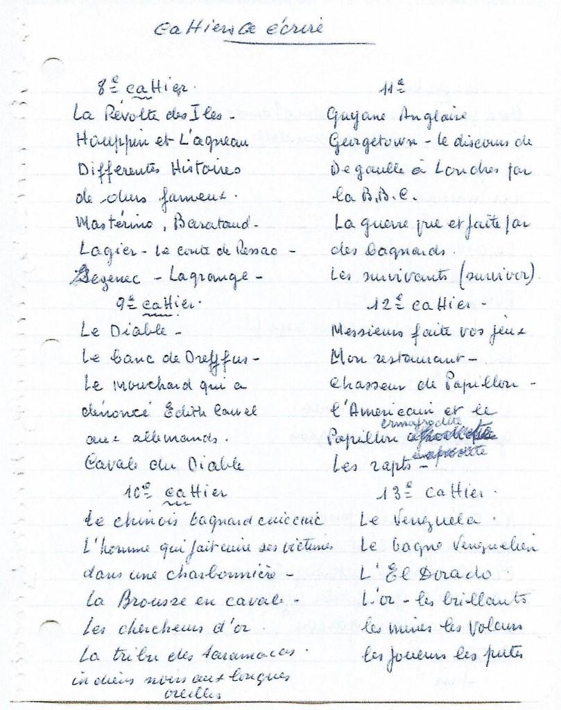 Courrier d'H. Charrière à son neveu Jacques Bourgeas. Présentation des chapitres du livre Papillon qu'il commence à écrire.