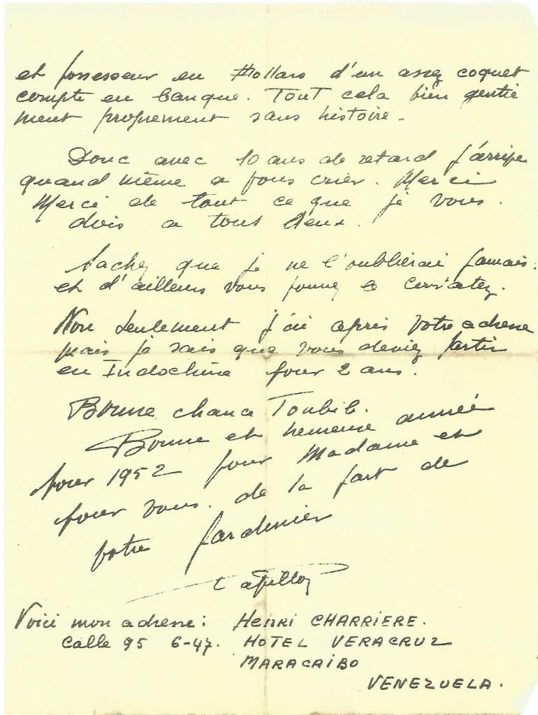 Lettre du 14/02/52 au Docteur Alex Guibert- Germain. Ecrite de Maracaibo, à propos de leurs retrouvailles.