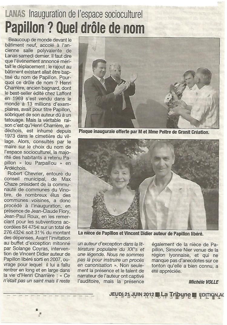 Article de presse de La Tribune du 21 juin 2012.