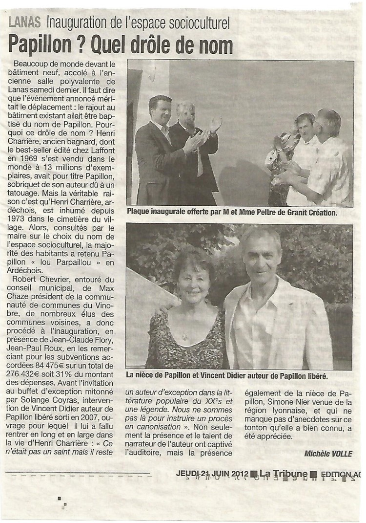 Article de presse de La Tribune du 21 juin 2012.
