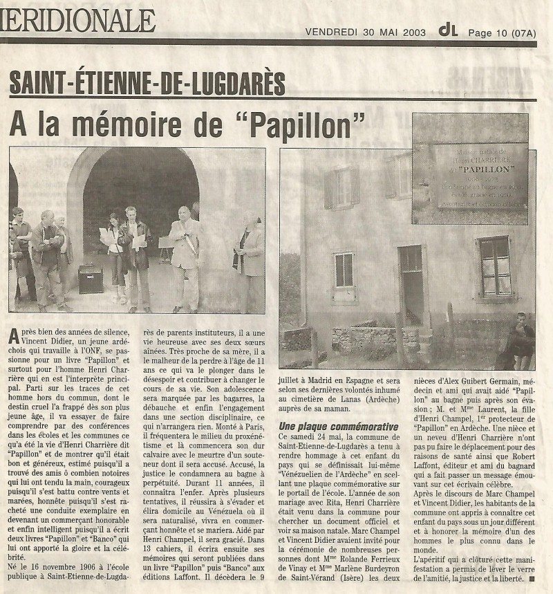 Article du Dauphiné-Libéré du 30 mai 2003.