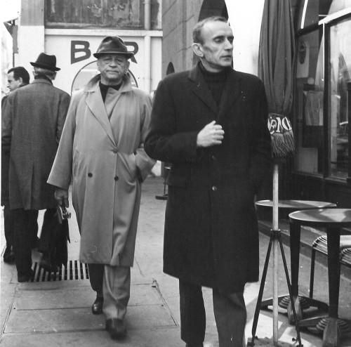 H. Charrière et Jean-Pierre Castelnau, directeur littéraire des Editions Pauvert.