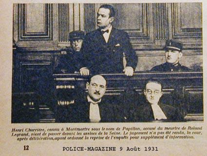Article de presse de Police-Magazine du 9 août 1931 : H. Charrière à son procès.